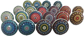 10 Multi Colorful Rare Vinatge Look Mixed Round Flower Shape Ceramic Drawer Door knobs Cabinet Handle Cupboard Pulls Drawe...