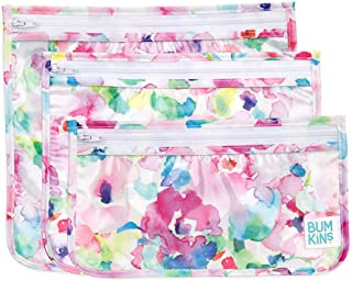 """Bumkins TSA Approved Toiletry Bag, Travel Bag, Quart Zip Pouch, PVC-Free, Vinyl-Free, Clear Sided, Set of 3 – Watercolor , 5"""""""