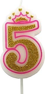 PartyMart Number 5 Giltter Candle, Pink Number 5