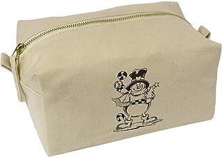 'Snowman with Lolly' Canvas Wash Bag / Makeup Case (CS00019522)