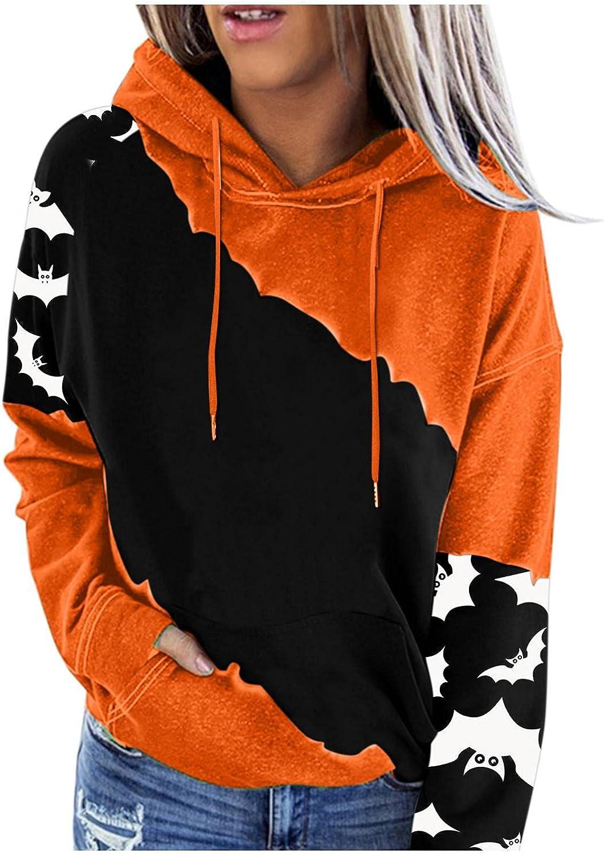 felwors Hoodies for Women, Womens Halloween Casual Pumpkin Cute Print Hooded Tops Loose Drawstring Pullover Sweatshirts