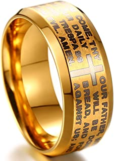 Jude Jewelers Stainless Steel Christian The Lord's Prayer Ring, Matthew 6:9-13