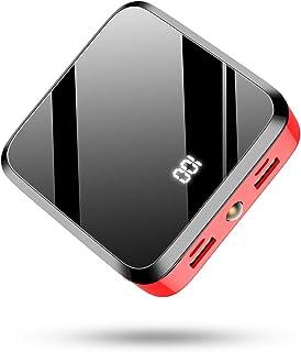 モバイルバッテリー 20000mAh 大容量PSE認証 LCD残量表示 鏡面仕上げデザイン 急速携帯充電器 2USB出力ポート&2入力ポート(MicroとType-C入力ポート)携帯充電器 Android/その他のスマホ/タブレット対応(赤)