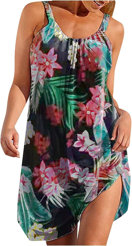ManxiVoo Women's Cami Tank Dress Casual Boho Beach Floral Print Dress Sleeveless Loose Mini Dress