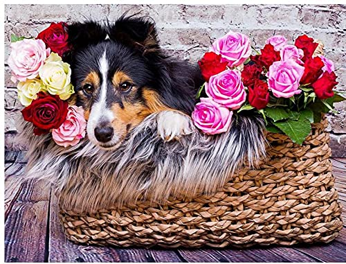 Canasta De Flores Y Perros Animales Rompecabezas De Madera DIY 500 Piezas para Adultos Niños Juguetes Educativos Regalo Arte Descompresión Relajarse