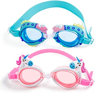 7351c335c752 MOOKLIN Occhialini da Nuoto per Bambini, 2 Pezzi Anti-Appannamento Occhiali  da Piscina Agonistico