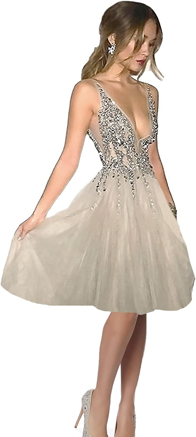 CutieGown Sexy Deep V Neck Sequins Tulle Short Homecoming Dresses Cocktail Dress