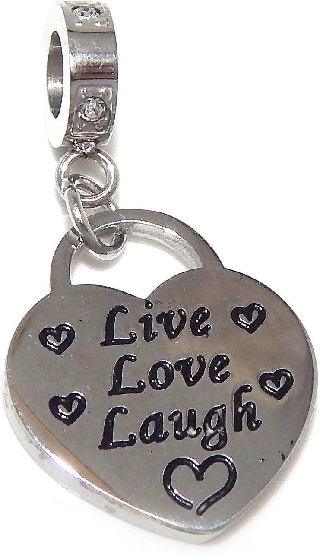 ICYROSE Stainless Steel Dangling Live Love Laugh Heart Charm Bead PS046 for European Snake Chain Bracelets