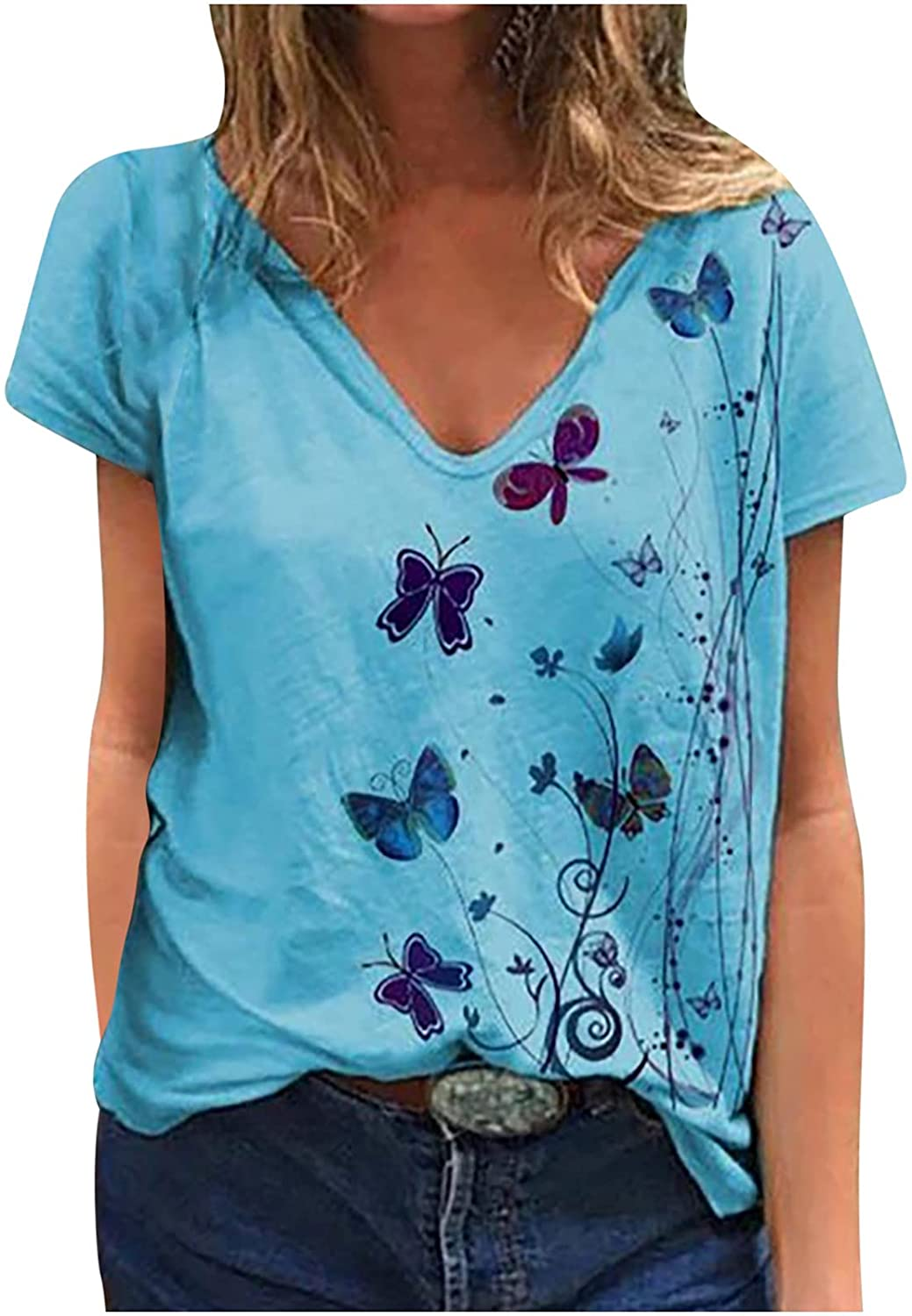 Regular discount Women's Short Sleeve Butterfly print V-neck Blouses Shirts Vint Now free shipping