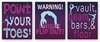 """Colorful Girl Gymnastics Art Print,Set Of 3 (8""""X10"""",Unframed) Gymnast Canvas Paintings Print,Inspirational Quotes Sports T..."""