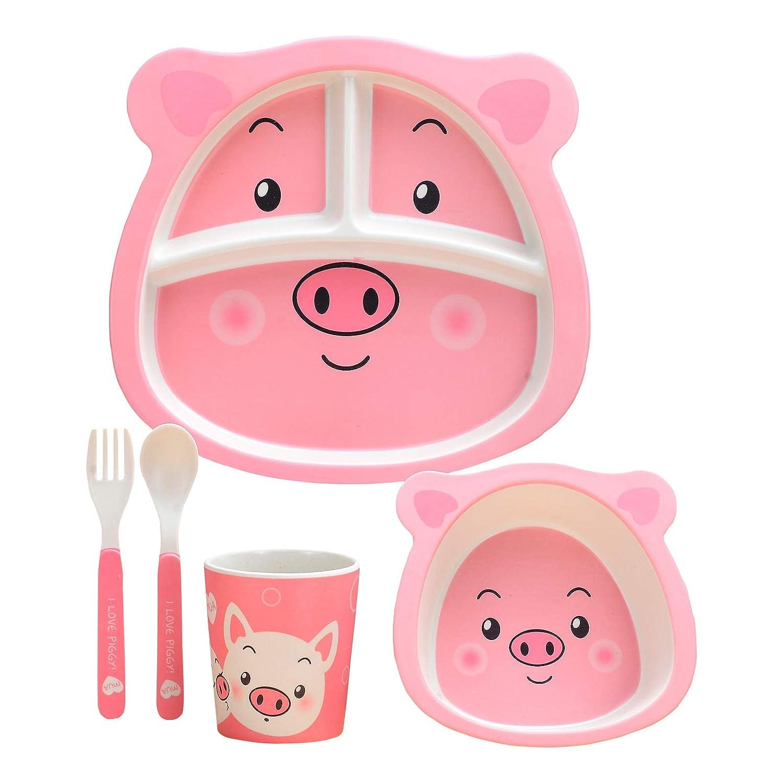 5Pcs / Set Bamboo Fiber Tableware Toddler Board Food Plate Bowl Cup Spoon Fork Sets Cartoon Dinnerware Tableware
