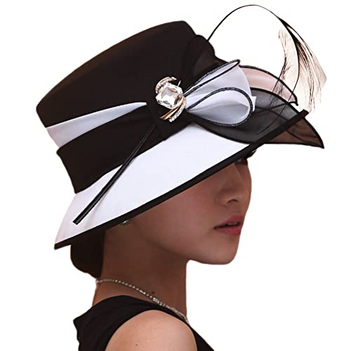 e2e8f0d09c270 June s Young Women Hat Formal Dress Hat Chiffon Fabric Feather Two Tone  Colors