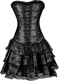 Pongfunsy Women's Steampunk Costume Corset Dress Halloween Costumes Steam Punk Gothic Corset Skirt Set