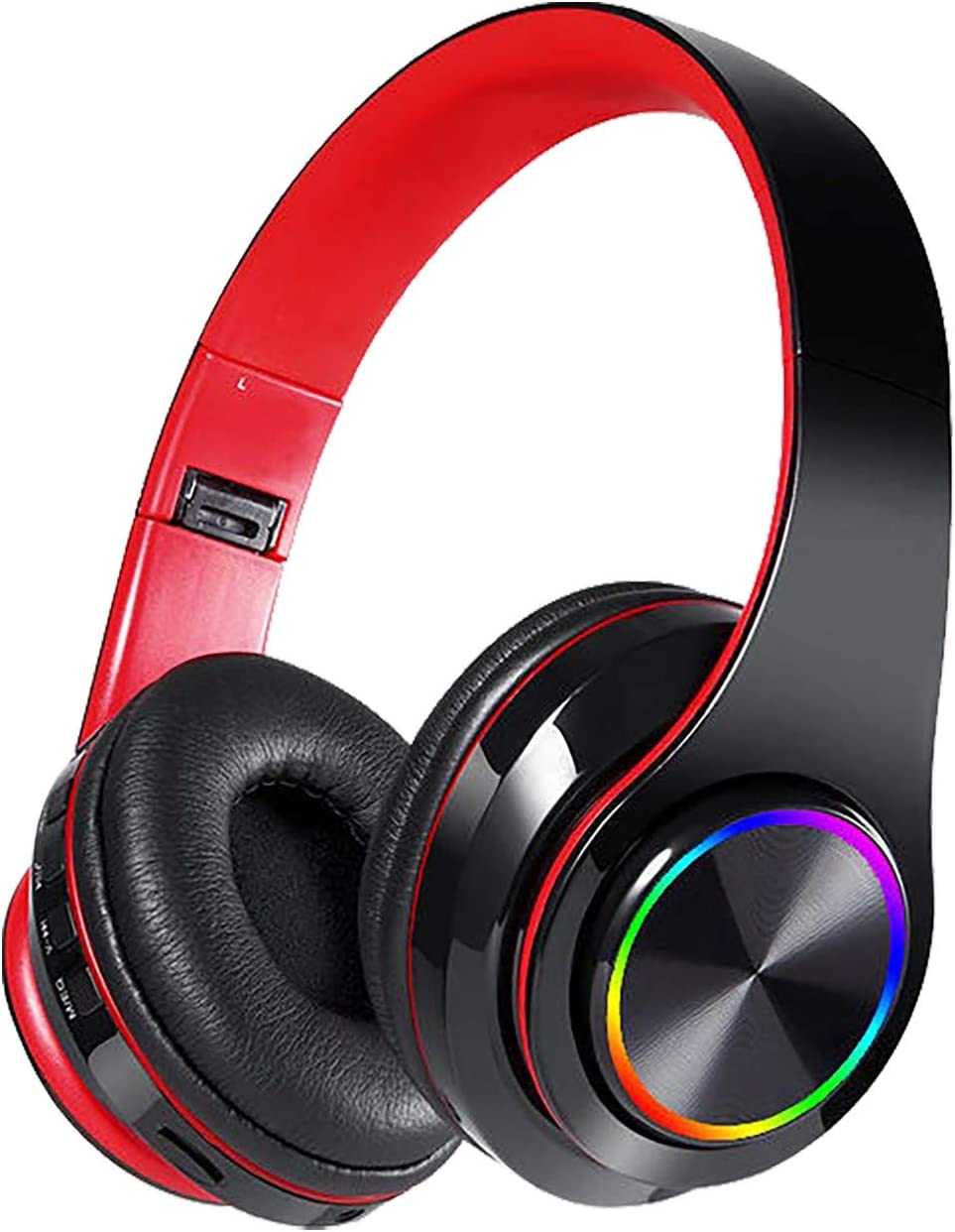 KITIYYT Wireless Bluetooth Headphones with Noise Cancelling Over Ear Stereo Earphones, 7.1 Surround Sound Headphones with Noise Cancelling Microphone Memory Foam Ear Pads RGB Lights for Laptops(Red)