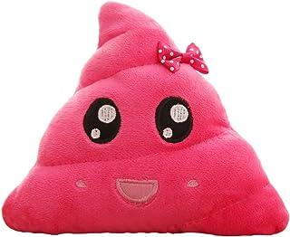 Luoem - Cojín de peluche con diseño de emoticono de caca, 20 cm, para niños y decoración (rosa