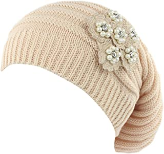 URIBAKE Women's Baggy Beanies Oversized Knitted Floral Decoration Slouchy Turban Head Wrap Pile Cap