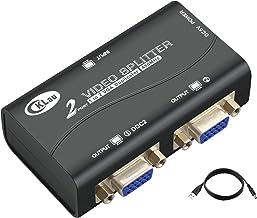 CKLau 450MHz Bandwidth 2 Port VGA Splitter Amplifier Box 1 PC to 2 Monitors SVGA Video Splitter Support 2048 x 1536 Resolu...