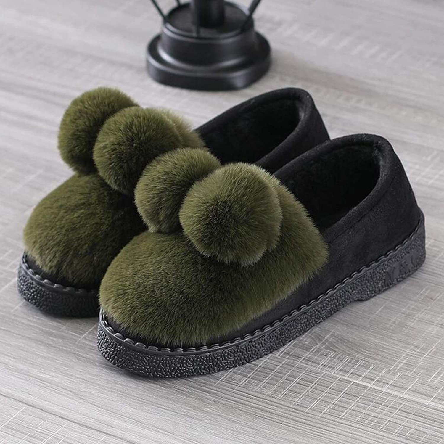 Women's Comfortable Plush Comfortable Home Slippers with Decorative Hair Ball Non-Slip Indoor shoes (color   D, Size   EUR 40-41)