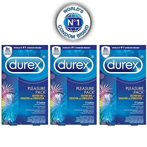 Durex Pleasure Pack Condom, 12 ct (Pack of 3)