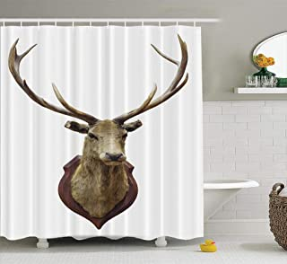 Elk Deer Shower Curtain,HdmlyStuffed Deer Head White with Trophy Wall 72x78 Inch Fabric Bathroom Shower Curtain Cloth Polyester Waterproof Bath Curtain Art Bathroom Decor,Stuffed Deer Head