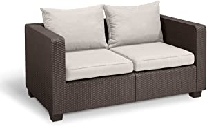 Keter Salta All Weather Outdoor Patio Furniture Loveseat 2-Seater with Sunbrella Cushions in a Resin Plastic Wicker Pattern, Rich Brown