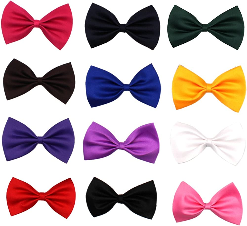 Glittermall Solid Color Adjustable Boys Kids Bow Tie Collection - 12 Mixed Color/12pcs