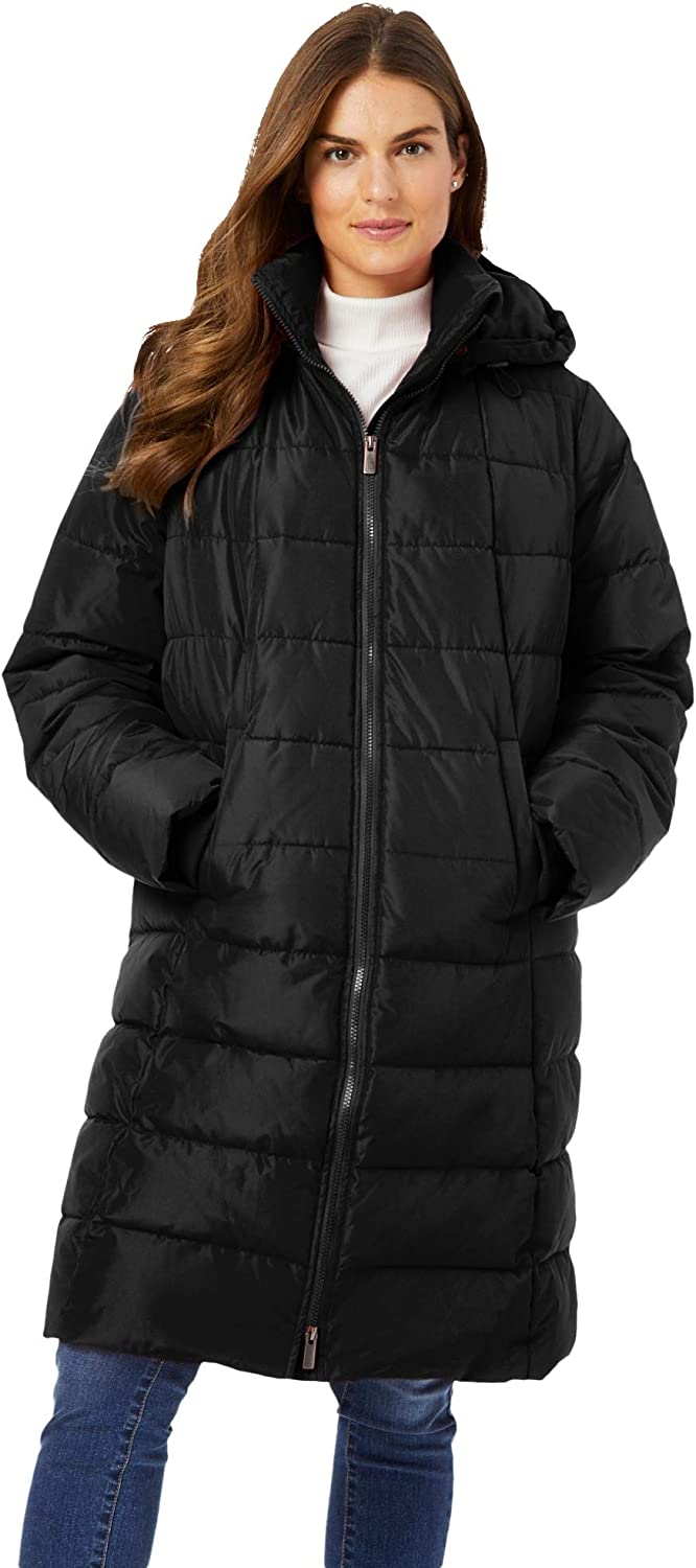 Woman Within Women's Plus Size Hooded Puffer Coat