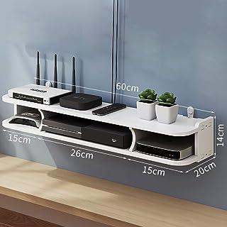 HJJ Los estantes flotantes 2 Niveles de TV Flotante Consola WiFi Router Box SHELFT Shelf DVD Player Set Top Box Router Sto...