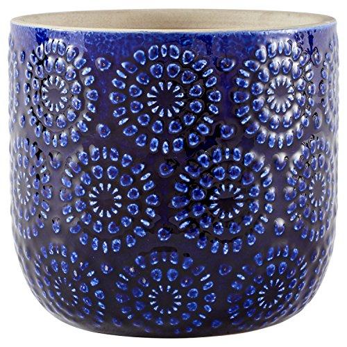 Stone & Beam, Maceta decorativa de cerámica con relieve floral , Azul, Mediano