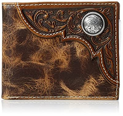 Ariat Men's Distressed Corner Over Circle Trifold Wallet, tan, One Size