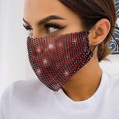 Yienate Glitzernde Strass-Maske, transparente Netzmaske, Halloween, Nachtclub, Glitzer, Kristall, Gesichtsmaske, Mode-Dekoration, Maske Schmuck für Frauen und Mädchen (rot)