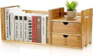 Bibliothèque de bureau extensible en bambou avec 2 tiroirs, étagère de bureau réglable en bois de bambou naturel, étagère ...