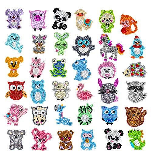 36Pcs 5D Diamond Painting Stickers Kits for Kids, Creatiee DIY Art Craft Animal & Sea World Painting with Diamonds, Paint by Numbers Diamonds for Children Adult Beginners