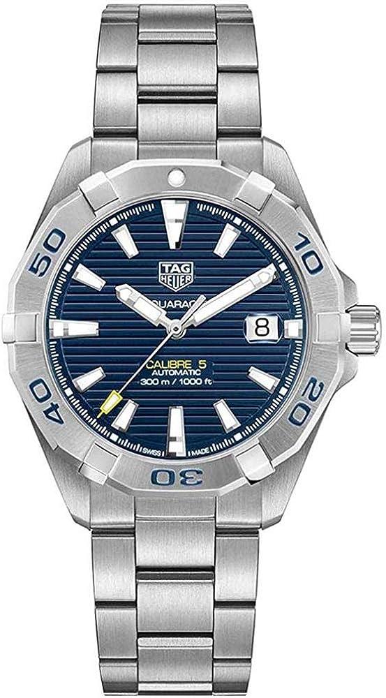 Tag heuer aquaracer calibre 5, orologio da uomo, automatico, in acciaio, con finitura spazzolata effetto solei WBD2112BA0928