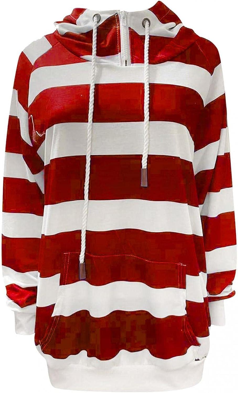 Hoodies for Women,Womens Sweatshirt Hooded Long Sleeve Striped Sweater Cowl Neck Hoodie Sweatshirt Coat