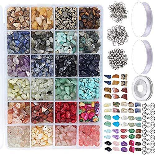 RENSHENKTO Kit de cuentas de piedras preciosas irregulares con separadores de langosta cierres anillos para joyería de bricolaje 1323 unids
