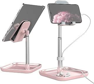 Licheers タブレットスタンド 角度と高さ調整可能 iPadスタンド 卓上 携帯 スタンド Switch, iPhone, Samsung, Sony, LG, Kindleなど(4-11インチ)に対応 日本語説明書付き - ピンク