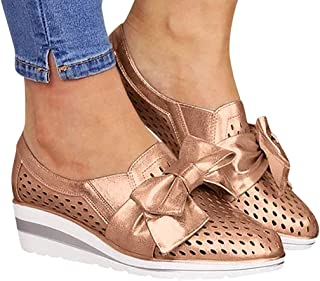 Womens Casual Round Toe Breathable Wedges Loafers Bowknot Hollow Out Walking Shoes Beach Casual Platform Sandals