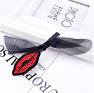 Osize 美しいスタイル レースのボウの唇の女の子のヘアデコレーションクリップのクリップ(黒)