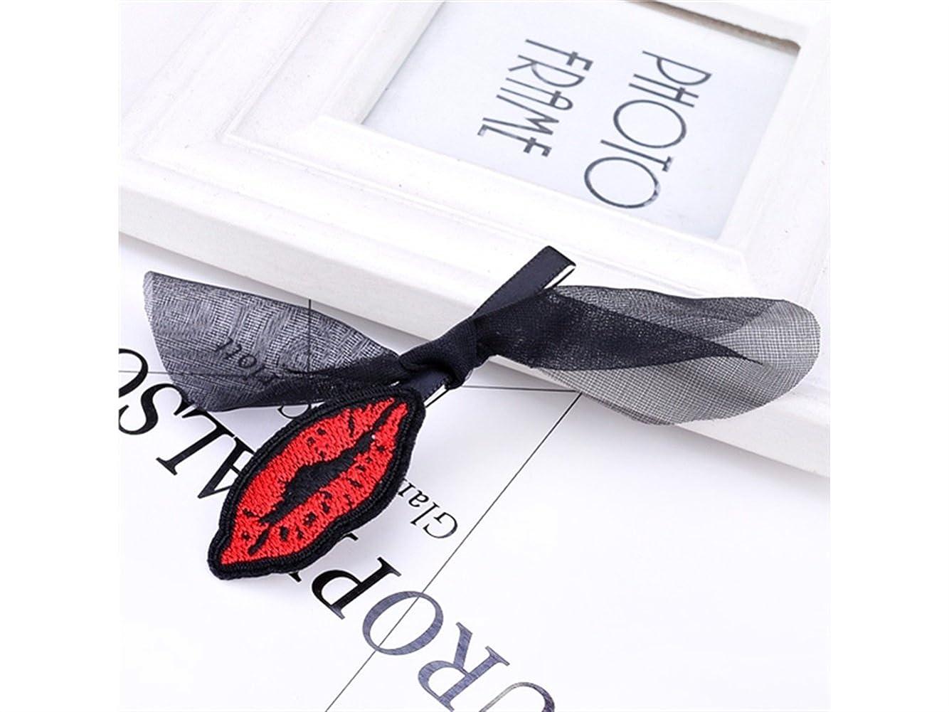 添付意気揚々小さいOsize 美しいスタイル レースのボウの唇の女の子のヘアデコレーションクリップのクリップ(黒)