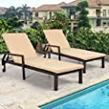 AECOJOY Adjustable Outdoor Chaise Lounge Chair PE Rattan Wicker Patio Lounge Chair Set of 2, for Outdoor Patio Beach Pool Backyard Lounge Chairs with Cushion and Wheels,Brown