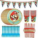 YNK 49 Pcs Juego de Vajilla de Super Mario, Fiesta de Cumpleaños de Super Mario, Decoración de Fiesta Set con Platos Horquillas Pajitas Banderín para Niños, 12 Personas (A)