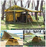 Luxe Tempo All Purpose Extra Large Camping Tent Rain Tarp Hammock Rain Fly Sun Shelter-1212 ft 4 Collapsible Poles guylines 16 guypoints Brown