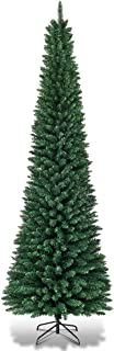 Goplus 7FT Pencil Christmas Tree, 700 Branch Tips, Premium PVC Needles, Artificial Slim Christmas Tree w/Sturdy Metal Stand, Unlit Christmas Tree for Home, Office, Shops, and Hotels