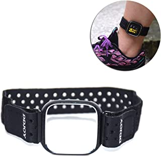 DDJOY Compatible Ankle Band with Case Protector for Workouts Compatible with Fitbit Versa, Breathable Ankle Band for Men and Women