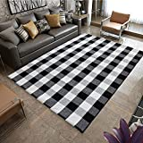 KaHouen Extra Large Cotton Buffalo Check Woven Runner Rug (67'x90'), Black Buffalo Plaid Rug, Washable Plaid Checkered Rug for Living Room/Bedroom/Kitchen/Door Way/Laundry (5.58 x7.5 ft, Black White)