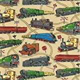 Fat Quarter Loco Motion Lokomotive Züge Eisenbahn 100%