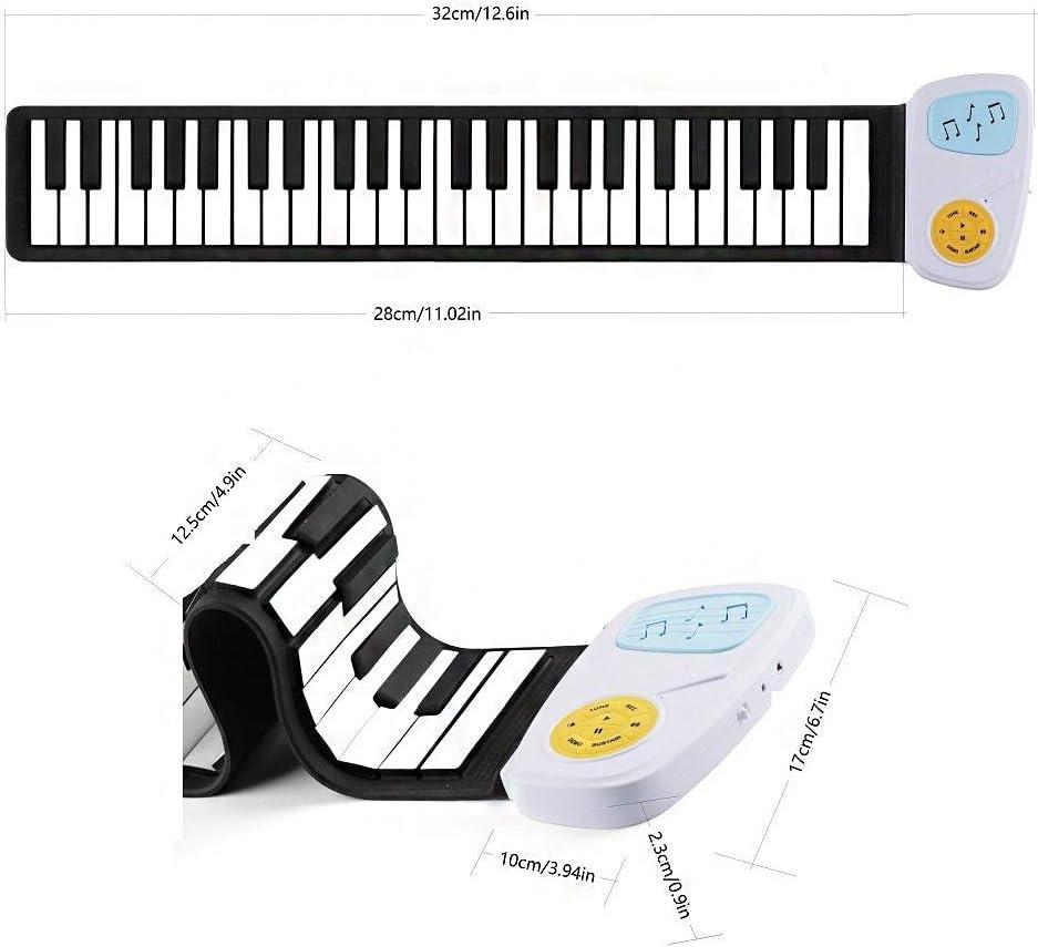 Kinderen ingang 49-Key Hand Roll Piano Kinderen Regenboog Siliconen Toetsenbord 8 Geluiden & 6 Demo Liedjes wit