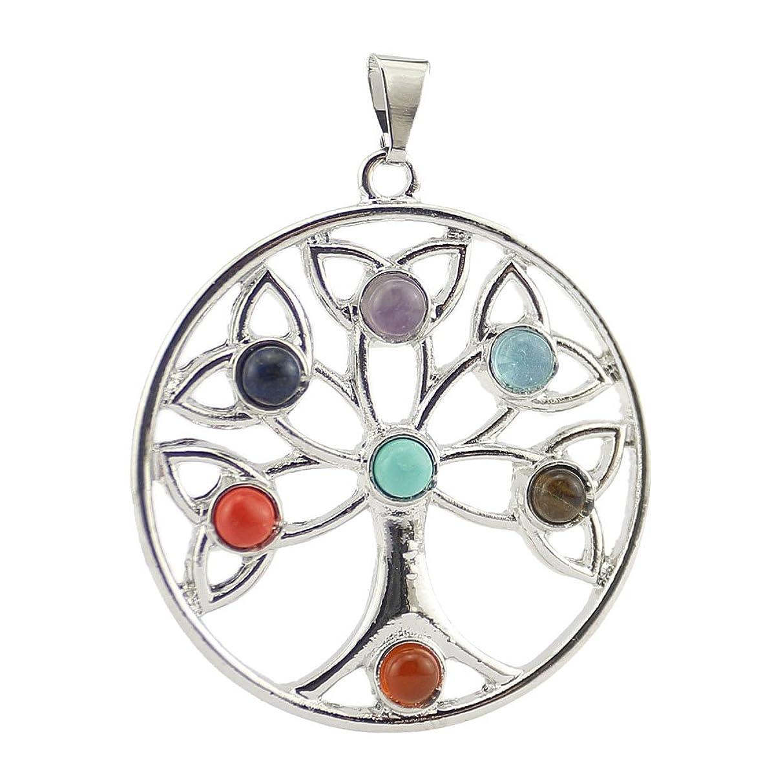 Happy Hours - Fashion Jewelry 7 Chakra Stone Natural Charm Crystal Gemstone Beads Pendant Reiki Healing Balancing Suit Necklace(Life Tree)