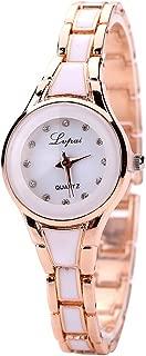 Mimgo Womens Gold Stainless Steel Luxury Bracelet Quartz Wrist Watch (White)